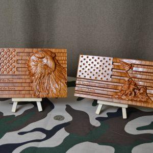 Desktop Wooden Mini American Flag Personalized! 3D CNC Carved Military Veterans Patriots, Unique!