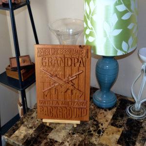 Military Grandpa Veteran 3D CNC Wood Carved Sign/Plaque