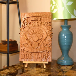 """Military Veteran Wooden Carved Sign/Plaque """"Real Heroes Wear Dog Tags"""""""