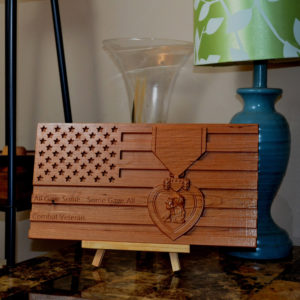 Purple Heart Wooden Carved American Flag! Military Veteran, Wounded in Combat, Unique!